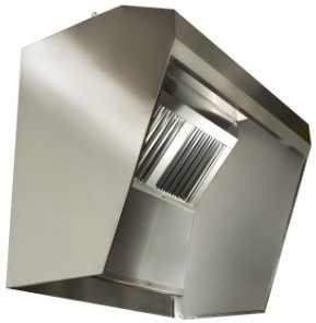 Hood with bulkheads for fryers, kebab